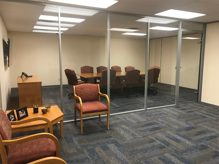 Flex Series glass walls at financial institution