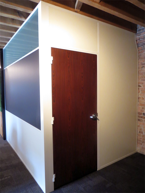 Flex series office with white trim and solid mahogany door