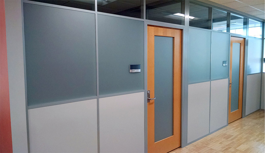 Wood Framed Swing Doors With Frosted Glass Inserts Flex Series