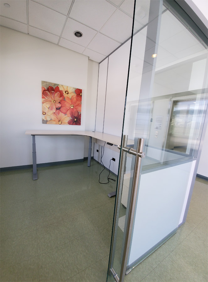 Floor to Ceiling Demountable Walls - Sliding Glass Door with Locking Ladder Pulls