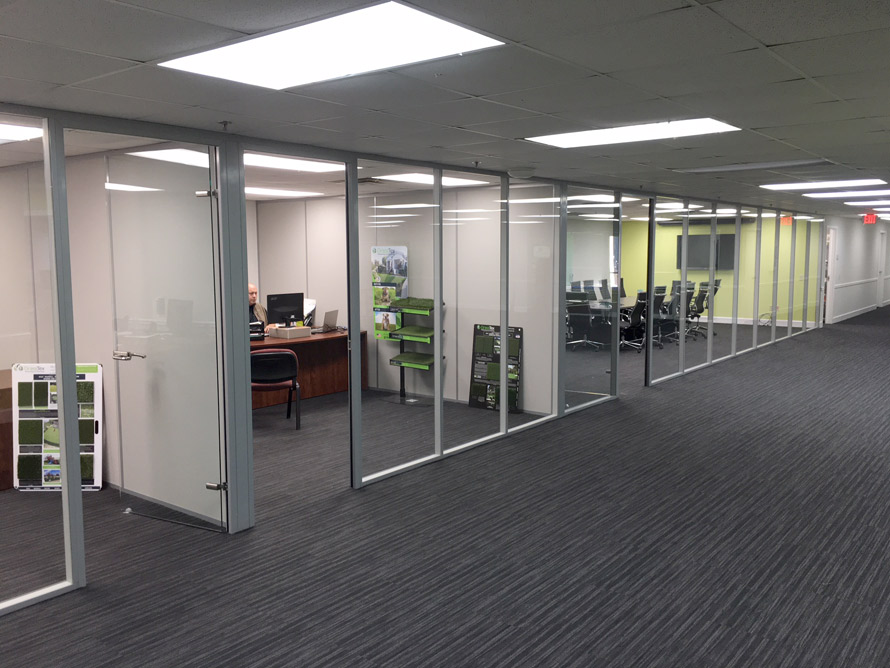 Floor To Ceiling Glass Office Walls With Powered Sidewalls   Flex Series