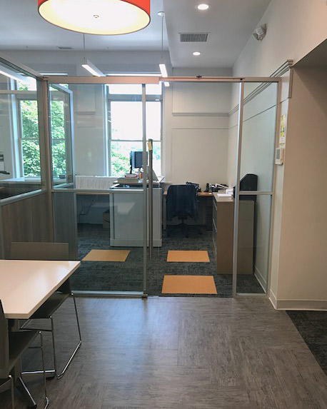 Freestanding Glass Office Front with Sliding Glass Door