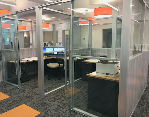 Private Offices with Frameless Glass Sliding Doors