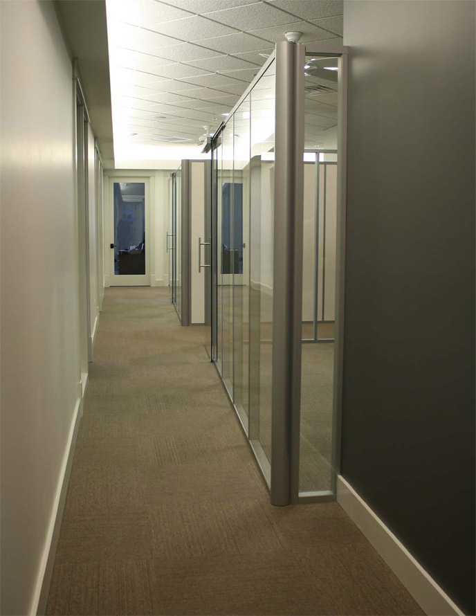 Freestanding glass office with radius corner post - Flex Series