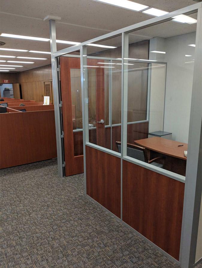 Wood Frame Door with Glass Freestanding Demountable Wall Office