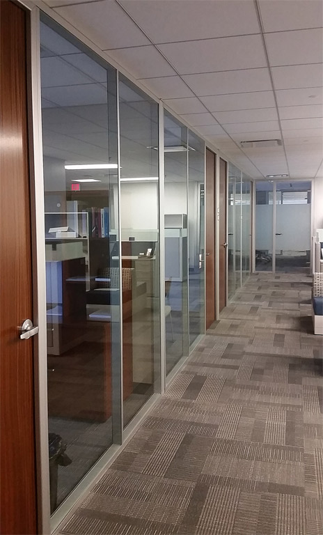 Anodized glass offices with veneer swing doors