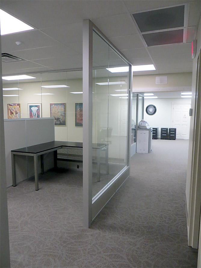 Center mount glass office walls