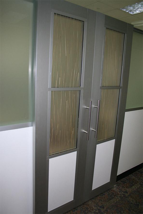 Double sliding barn doors with aluminum frame