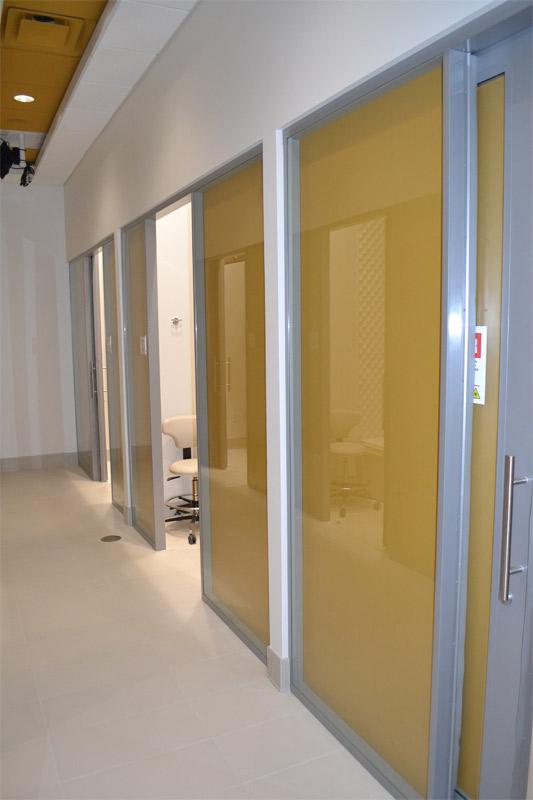 Flex system office shadow box glass walls