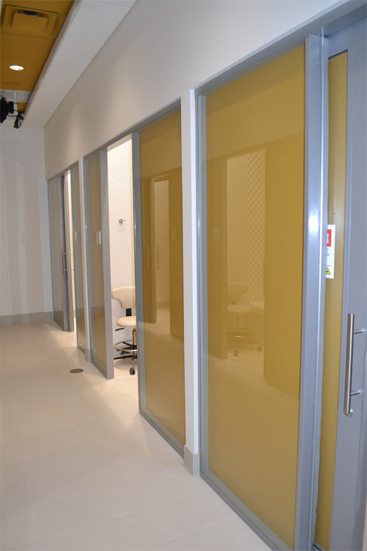 Flex system office shadow box glass walls