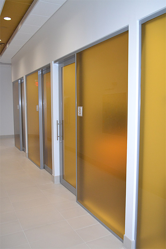 Flex series offices with custom film glazing