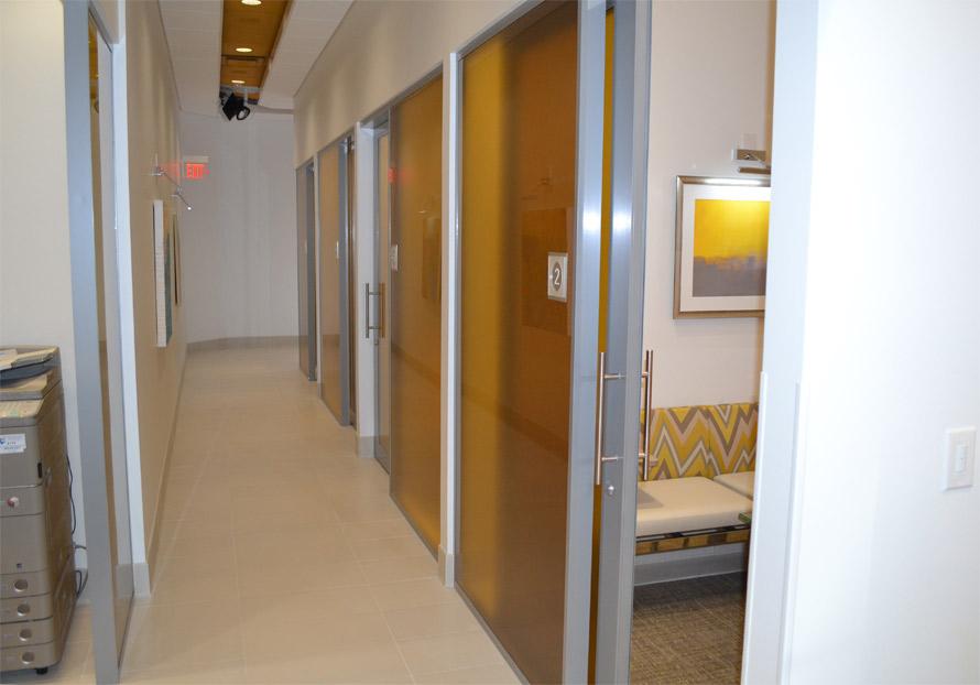 Sliding aluminum framed glass doors