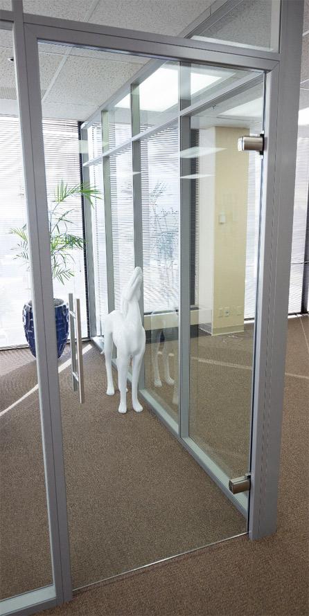 Frameless swing glass door with barpulls