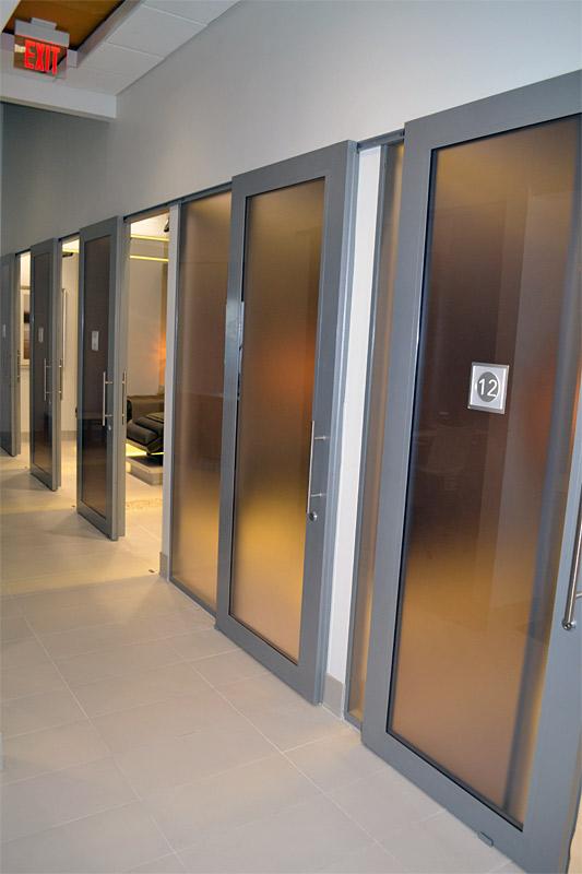 Metal framed sliding glass door healthcare installation