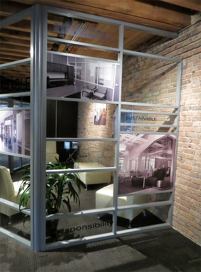Multi-segmented demountable wall Chicago NxtWall showroom