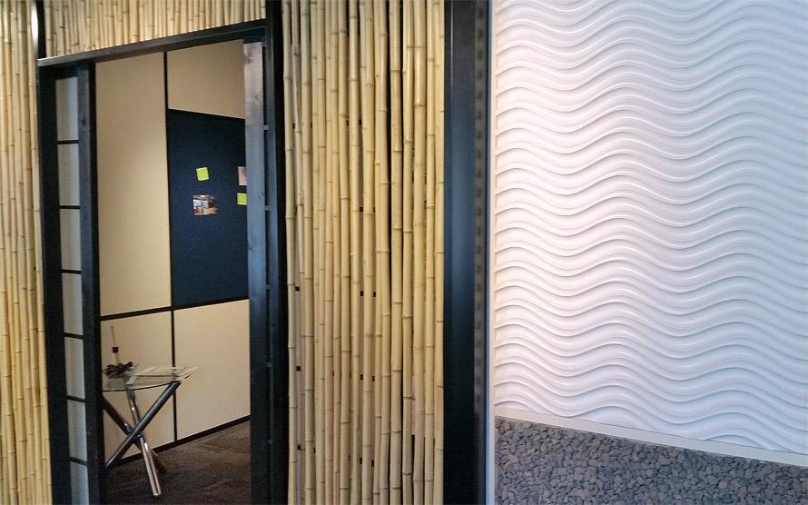 Nxtwall Chicago showroom bamboo wall (Flex series)