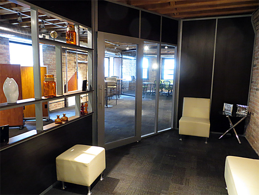 NxtWall Chicago showroom Flex open shelf wall application