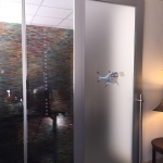 Aluminum Frame door with frosted glass insert Flex Series interior walls