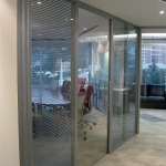 Conference Room with Swing Glass Door Venetian Blind Application