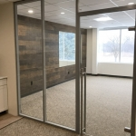 Flex glass office with locking barpull