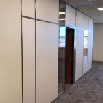 Solid architectural walls office with swing wood door