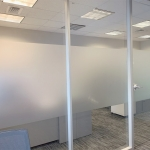 Floor to ceiling glass walls with privacy window film - Flex Series