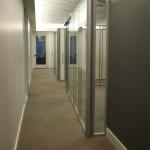 Freestanding glass office with radius corner post - Flex Series