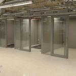 Freestanding offices Flex series with sliding aluminum-frame doors