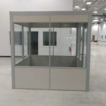 Freestanding solid panel and glass inplant demountable office