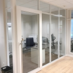 Glass Office Walls - Flex-Series - Warm White Finish with Sliding Door