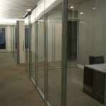 Glass Office with sliding frameless glass door