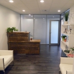 Medical Center entry way - Flex Series glass walls with frosted film