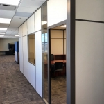 Office with glass window and sidelight brown aluminum wall framing