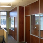 Flex series offices with solid wood panels