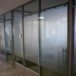 Flex series walls with glass sliding doors and power option