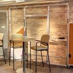 Inbetween glass venetian blinds - skeleton wall - and 4-inch wall Nxtwall displays