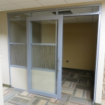 Sliding aluminum frame door University office