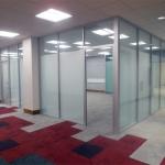 University classroom glass walls installation