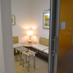 Waiting room sliding door with custom film glazing