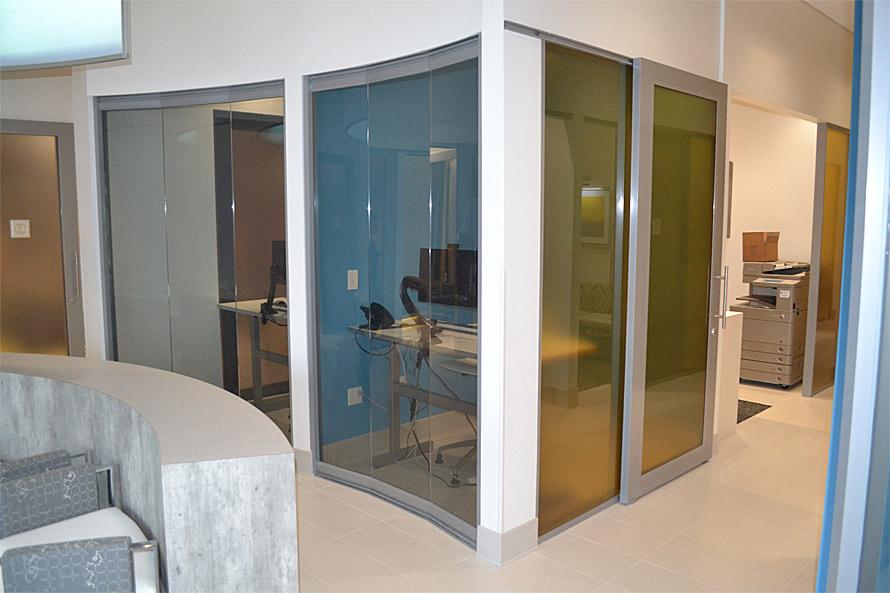 View series glass walls (left) Flex series sliding door (right)