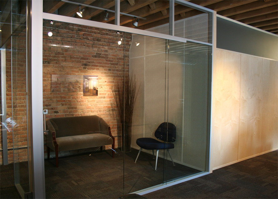 Pocket Door Glass Office With Stainless Flush Pull Hardware