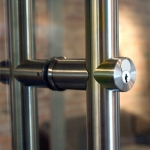 Locking barpull detail - door hardware