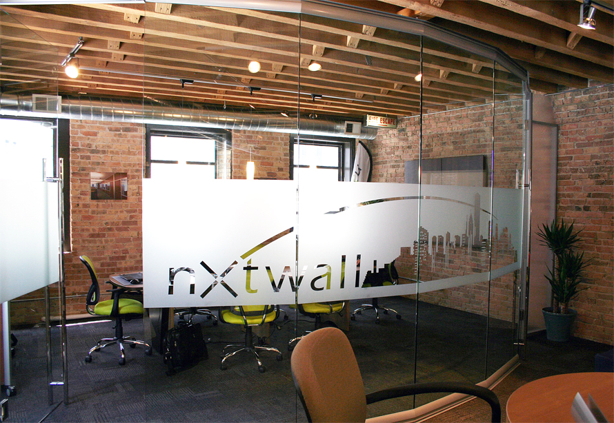 Privacy window film on View series glass conference room
