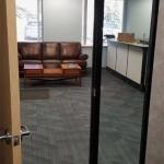 Solid Door with Glass Sidelite Black Aluminum Framing - Flex Series