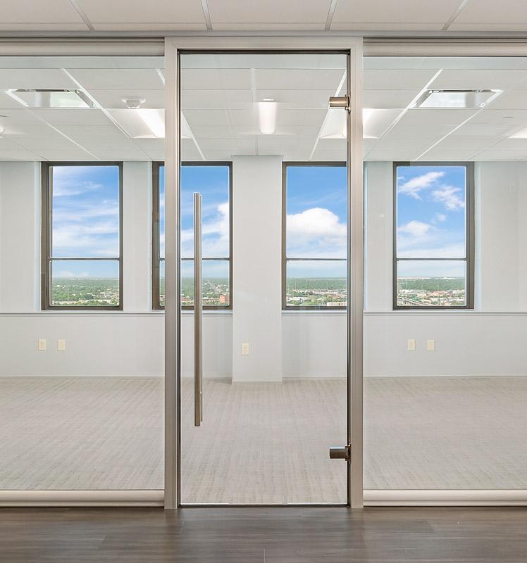 Anodized aluminum door frame with frameless glass swing door