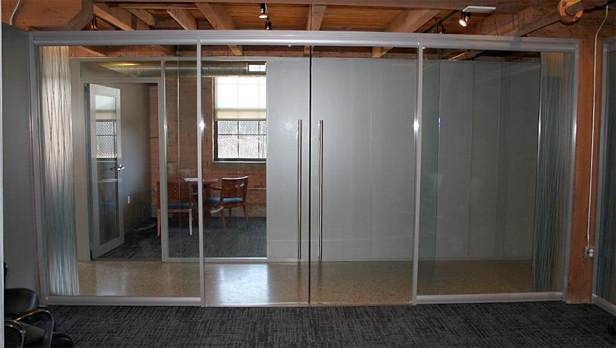 Double Frameless Glass Sliding Doors   Conference Room