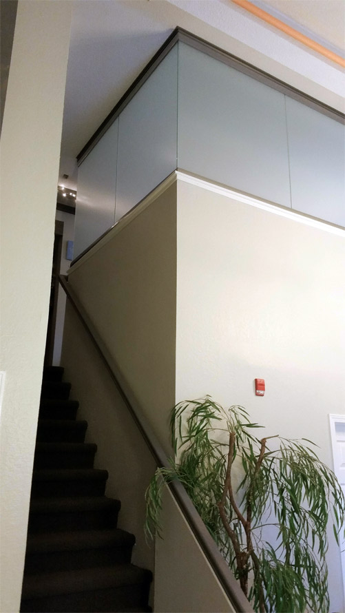 Frosted glass modern clerestory installation
