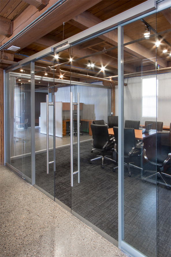 Glass Conference Room With Double Sliding Doors Soft Open Close Door Hardware