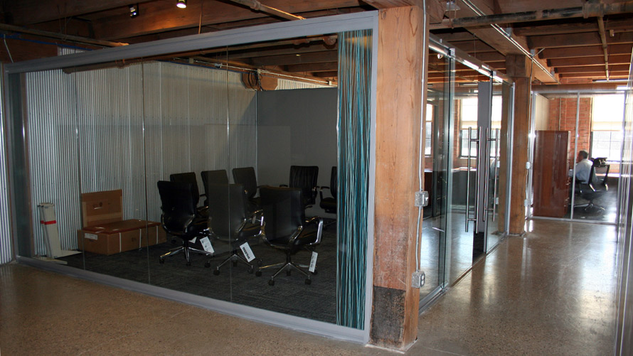 NxtWall View Series freestanding glass wall conference room