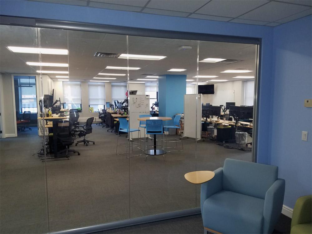 View Series butt joint glass office wall